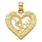 14k Yellow Gold Fancy Designer I Love  3 You Broken Sweet Heart Charm Pendant