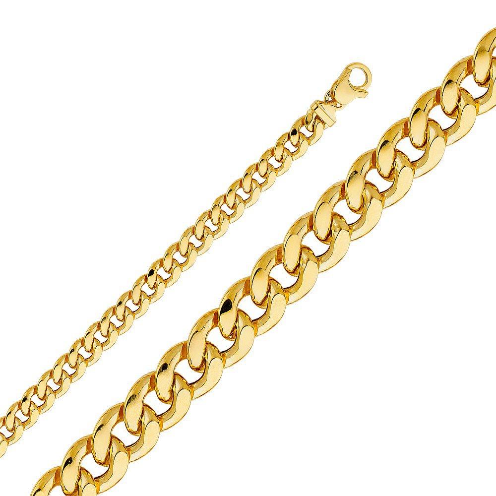14k Yellow King Men's Gold Hollow Fancy Cuban Chain Necklace - 8.5 mm - 24 in.