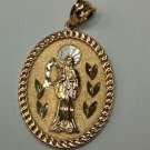 14k Yellow Gold Diamond Cut Holy Death Santa Muerte Oval Shaped Charm Pendant