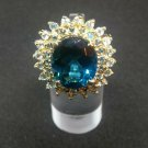 14k Yellow Gold London Blue Topaz and Swiss Blue Topaz Princess Kate Estate Ring