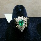 14k Yellow Gold Tear Drop Pear Shaped Emerald and Diamond Accent Cocktail Ring