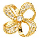 14k Yellow Gold Micropaved Cubic Zirconia Flowered Bow Designer Charm Pendant