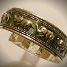 925 Sterling Silver Handmade Oxidized Thailand Elegant Elephant Bangle Bracelet