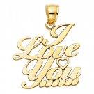 14k Yellow Gold Fancy Designer I Love <3 You Eternal Heart Message Charm Pendant