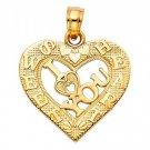 14k Yellow Gold Fancy Designer I Love <3 You Broken Sweet Heart Charm Pendant