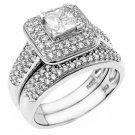 925 Sterling Silver Designer Women's Princess Cubic Zirconia Engagement Ring Set