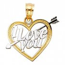 14k Yellow Gold Fancy Designer I Love <3 You Heart and Arrow Cupid Charm Pendant
