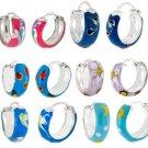 925 Sterling Silver Colorful Enamel Childrens Endless Hoop Earrings ~5 mm