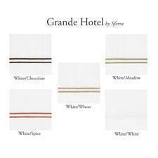 Sferra Grande Hotel Flat Sheet-White/Chocolate Trim-Full/Queen