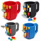 Build-On Brick Mug Building Blocks Coffee Cup DIY Block Puzzle Mug Gift ( Pink)