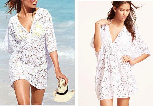 Women's White Lace Dress Sexy Bikini Cover-up See-through tops gift Travel Swimwear clothing