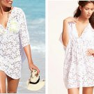 Women's White Lace Dress Sexy Bikini Cover-up See-through tops gift Travel Swimwear clothing