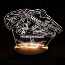 Millennium Falcon  3D Star War LED Light Wood Base USB Charging Lamp light Gift Collectibles toy