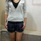 2 Colors vintage women's fashion  thicken plaid short pants trousers jeans