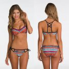 Women's Sexy Vintage Tribal Print Swimwear Bikini set push up beach Swimsuit