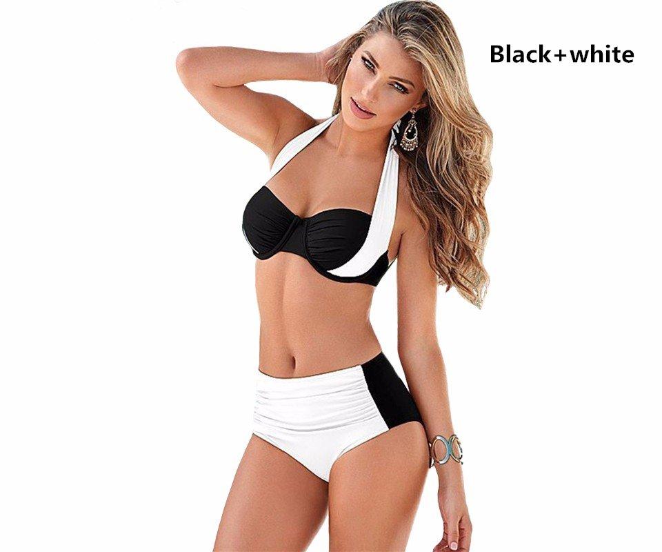 5 Colors women's Vintage sexy High Waisted Swimwear Halter Top Push Up Bikini Set beachwear