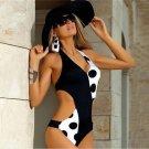 Womens Sexy one-piece dots print Push up Swimsuit Bathing Suit Swimwear Black white bikini