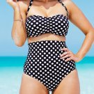 Womens Sexy white black dots Push up beachwear plus size Swimsuit high waist Swimwear bikini set