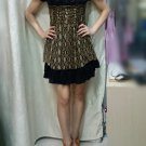 New women's Casual italy 100% silk black mini dress party wedding dress Size S