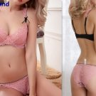Women's Sexy lace gauze embroidery Ultra-thin Push up Bra Brief Panties Sets plus size sleepwear