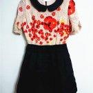 100% Silk women's fashion Floral + Back Mini Dress Ball Gown OL-style dress
