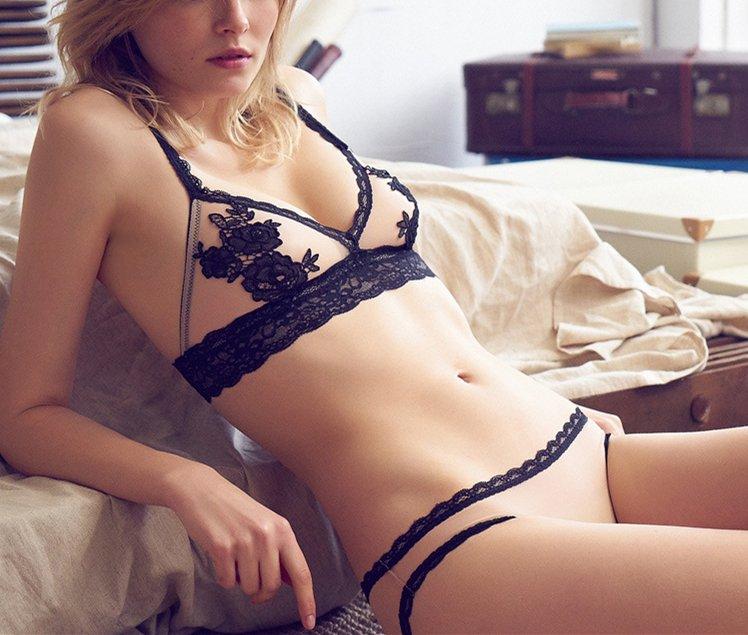 Women's Sexy lace plus size ultrathin transparent underwear sleepwear lingerie bra set A-D