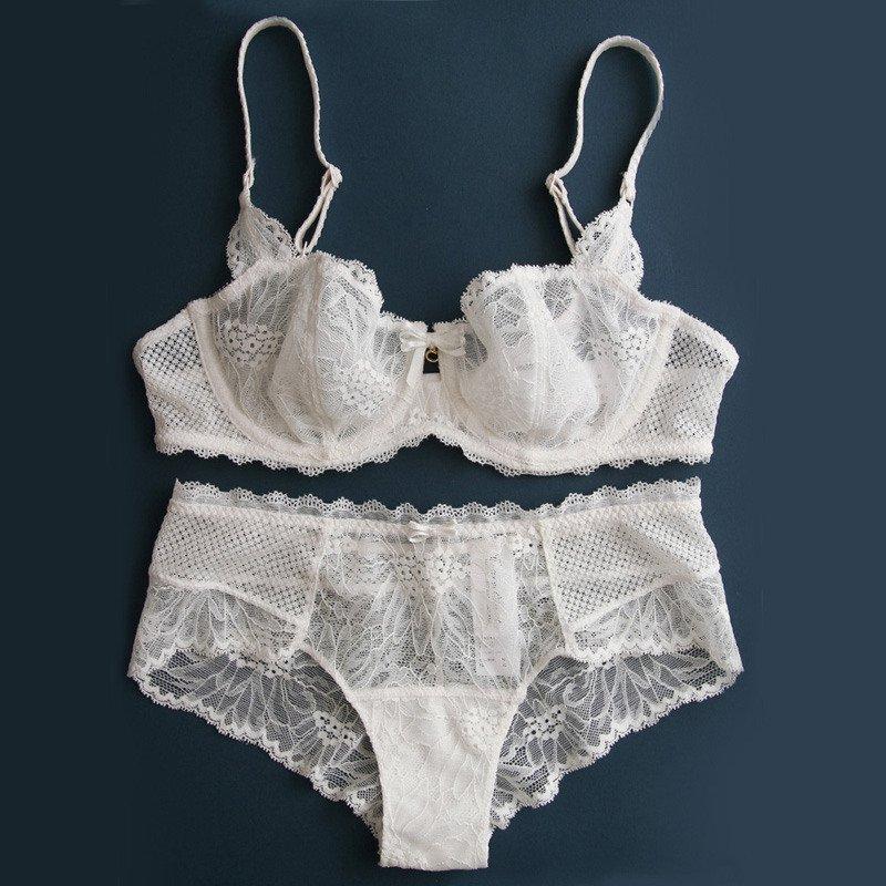 4 Colors Women's Sexy lace Ultra-thin Push up Plus size Bra Brief Sets 32 34 36 38 B C D sleepwear