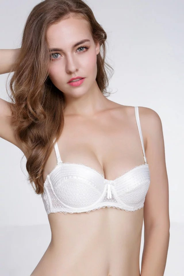 Women's sexy vintage Fold embroidery bra set underwear 32 34 36ABC