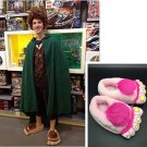 34-42 Savage Hairy Hobbit Feet Big Feet Home Slippers CosPLAY Gift Costumes Toy (PINK)