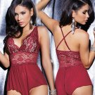 Women's sexy lace Deep-V Costumes suit lingerie sleepwear one-piece nightgown sexwear plus size