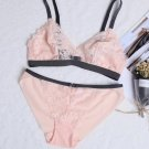 3 Color womens lace ultrathin wireless bra set underwear sleepwear lingerie S M L