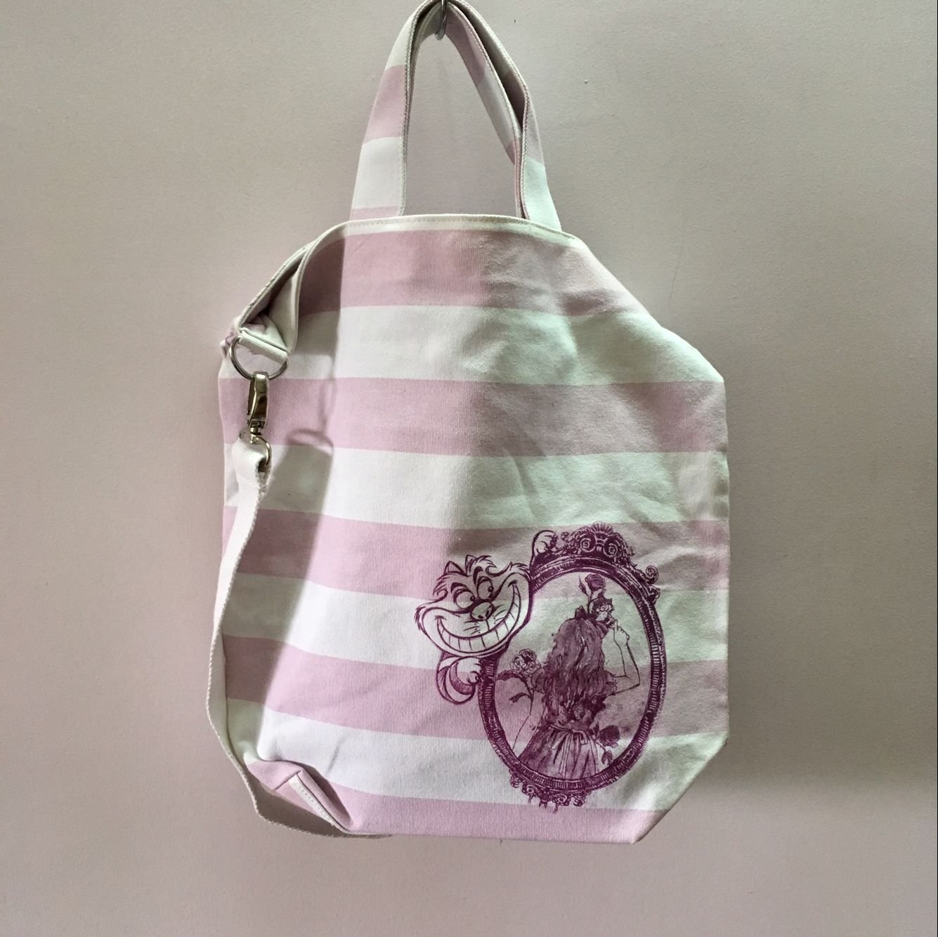 Pink white stripe shopping bag messager Big shouder bag gift disneyw worldwode free shipping