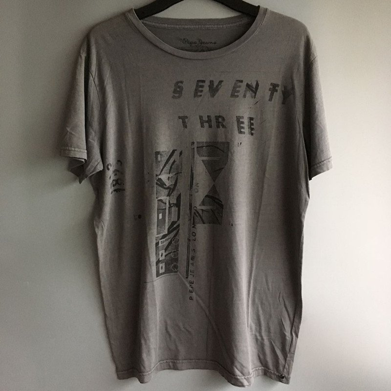 New Men's T-shirt fashion DENIM cotton basic Tees Gray gift sports clothing