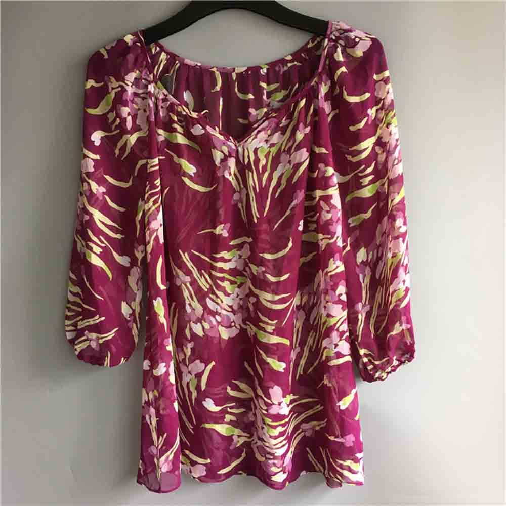 Women's chiffon blouse tops casual dress Free shipping