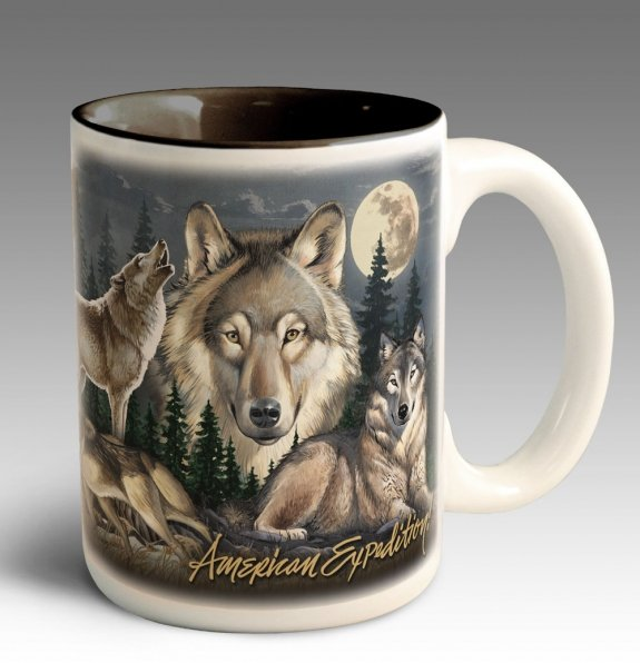 Wolf Gift 15 Oz Stoneware Coffee Mug with Decorative Box