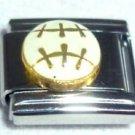 White enamel baseball 9mm stainless steel italian charm bracelet link new