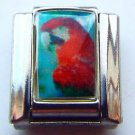 Scarlet macaw standing photo 9mm stainless steel italian charm bracelet link new