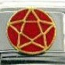 Pentagram sign with 18ktgp enamel 9mm stainless steel italian charm link new