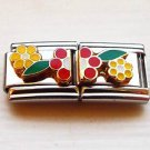 Colorful flowers enamel 9mm stainless steel double link italian charm new
