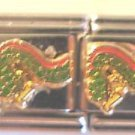 Green Chinese dragon enamel 9mm stainless steel double link italian charm new