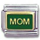 Mom on dark green enamel 9mm stainless steel italian charm link new