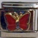 Pretty red butterfly enamel 9mm stainless steel italian charm bracelet link new
