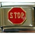 Stop sign red round enamel 9mm stainless steel italian charm bracelet link new