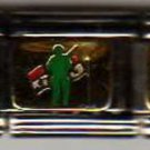 Green military man with flag enamel 9mm stainless steel italian charm link new
