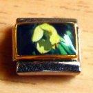 Pretty yellow flower photo 9mm stainless steel italian charm bracelet link new