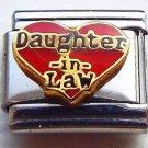 Red heart daughter in law enamel 9mm stainless steel italian bracelet charm link