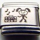 Girl with boom box laser 9mm stainless steel italian charm bracelet link new