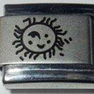 Happy smiling sun  laser 9mm stainless steel italian charm bracelet link new