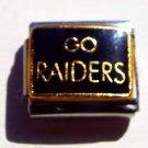 Go Raiders on black enamel 9mm stainless steel italian charm bracelet link new