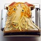 Collie dog face enamel 9mm stainless steel italian charm bracelet link new